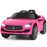 Costzon Ride on Car, 12V Licensed Maserati Gbili, Battery Powered Car w/2 Motors, Remote Control, LED Lights, MP3, Horn, Music, Spring Suspension, Two Doors Open, Kids Electric Vehicle (Pink)