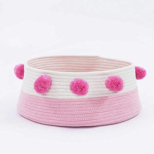 Leoie Bed in ronde vorm, schattig, voor huisdieren, voor kleine honden en katten, Roze en wit