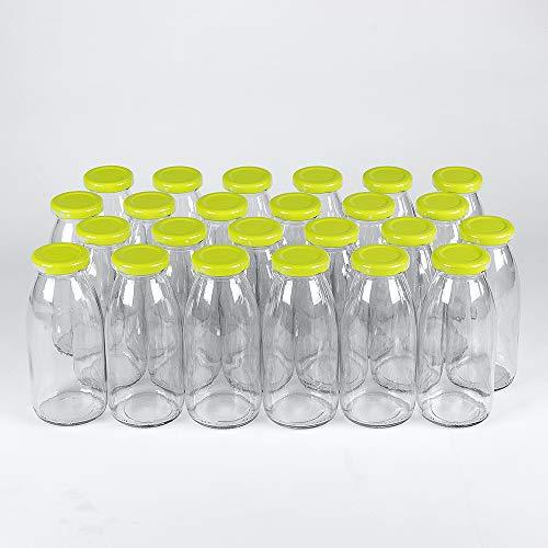 Flaschenbauer - 24 leere Glasflaschen 250 ml weiß mit Schraubverschluss TO43 hellgrün 0,25l - Zum selbst befüllen von Milchflaschen, Saftflaschen, Smoothie Flaschen