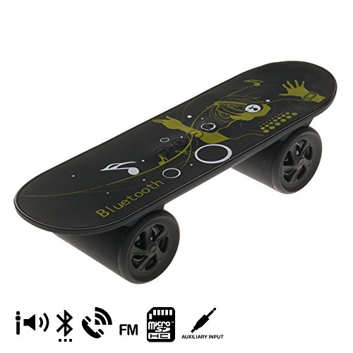 Silica dmk147 – Enceinte Bluetooth en Forme Skate, 2 x 3 W, Couleur Noir
