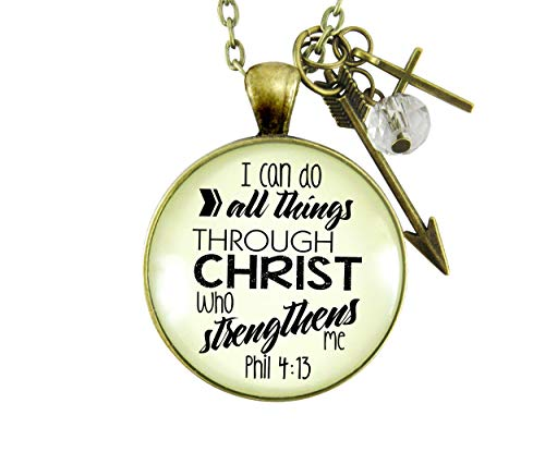 """Gutsy Goodness 24"""" I Can Do All Things Faith Necklace Brave Life Quote"""