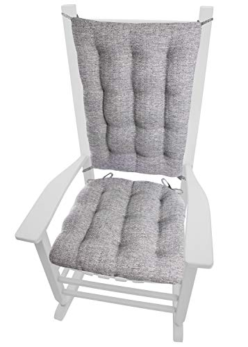 Barnett Home Decor Brisbane Silver Grey Rocking Chair Cushions - Extra-Large - Latex Foam Filled Seat Cushion & Backrest Pad with Ties - Reversible - Made in USA (XL/Pewter Gray)