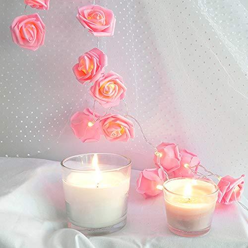 FeiliandaJJ Lichterkette Rosa Rose 1M 10LED Dekorative LED-Leuchten Hochzeit Party dekorative Lichter Geschenk Laternen String Lights (Rosa)