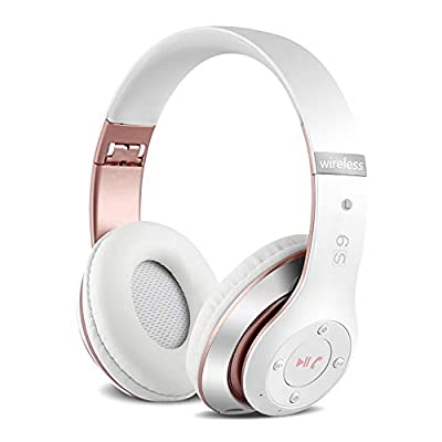 6S Wireless Headphones Over Ear,Hi-Fi Stereo Foldable Wireless Stereo Headsets Earbuds with Built-in Mic, Micro SD/TF, FM for iPhone/Samsung/iPad/PC (White & Rose Gold) by Gold Shelf