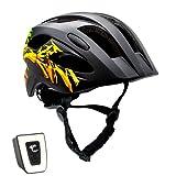 Casco de bicicleta para niños ajustable de tamaño infantil a juvenil   Tamaño 54-58   Precioso casco de bicicleta para niños y niñas   Luz LED incorporada recargable   Tiras reflectantes  