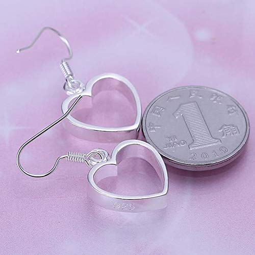 OUHUI Flat Hollow Earrings Simple Heart Shape Silver Earrings Ladies/Stainless Steel/Hypoallergenic/Silver Glitter/Small Exquisite/Hook Earrings Unique/As Shown