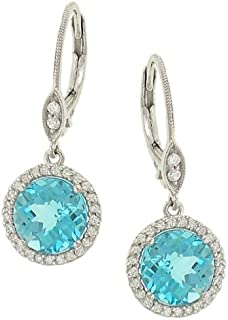 Meira T Halo Style Pave Diamond and Blue Topaz Dangle Earrings