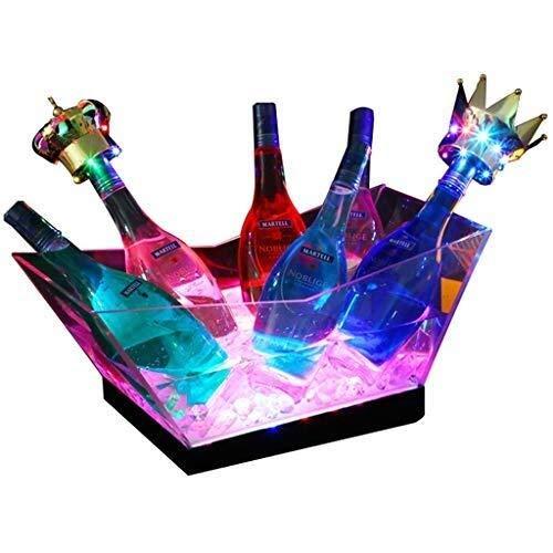 YFGQBCP LED Cubo de Hielo, de Gran Capacidad del Cubo de Champán del refrigerador de Vino con múltiples Colores Que cambian de Partido/Inicio/Bar, Impermeable Retro Champagne Vino Bebidas Cerveza