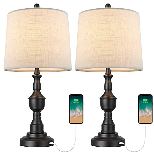 BOBOMOMO Lámpara de mesa USB, para mesita de noche, para dormitorio, sala de estar, color negro