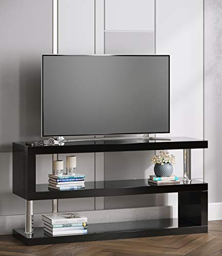 Manchester Furniture Supplies Miami High Gloss Contemporary Designer TV Stand & Media Unit (Black)