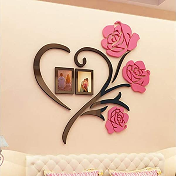 HGmart 3D Stereo Wall Stickers Home Decor Sticker DIY Acrylic Wall Sticker With Photo Frames Flower Pink