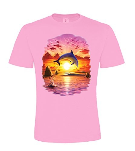 Ethno Designs Dolphin Sunset - Kids Animal Sealife - Dolphin & Whales - Girls Dolphin T-Shirt - regular fit, rose, size 122/128