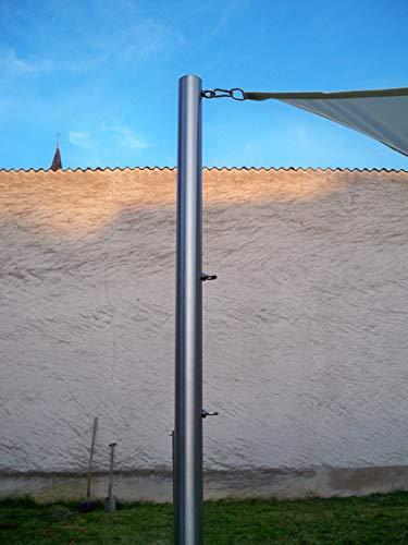 Sonnensegelmast aus Edelstahl 2,5m Länge in verschiedenen Varianten (Querschnitt: 60x2mm, Ösen: 3, Hülse: 50cm 90°)