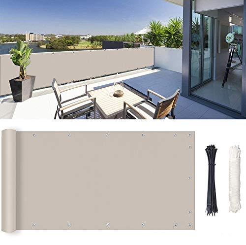 ROBAG Pantalla para balcón, Protector Visual, Instalación Simple y Segura para Jardín Balcón Terraza, 1.25x3m, Gris Pardo