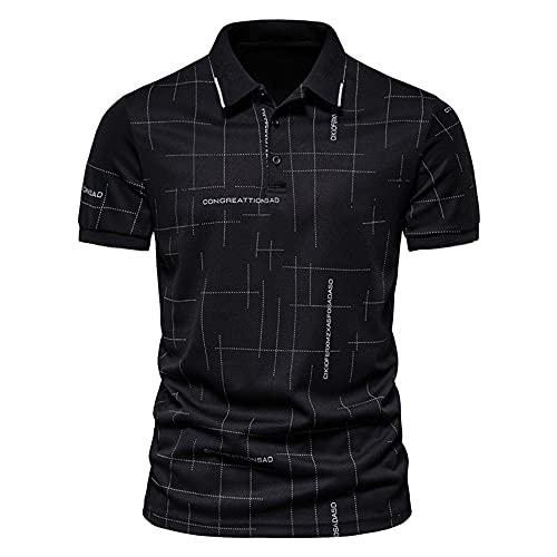 Camisa Hombre Verano Básico Ajuste Regular Manga Corta Hombre Casuales Camisa Moderno Casual Henley Camisa Tendencia Moda Impresión Negocios Casual Polo Shirt A-Black M
