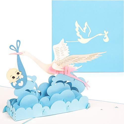 PaperCrush® Pop-Up Karte Baby Geburt Junge - 3D Geburtskarte, Glückwunsch zum Baby, Glückwunschkarte zur Geburt eines Jungen - Handgemachte Geschenkkarte, Babykarte, Popup Karte mit Storch