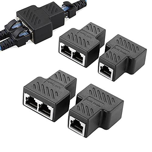 4 piezas Adaptador divisor de interruptor de cable RJ45 Lan para extensión, enchufe distribuidor en Y Conector Ethernet 1 a 2 puerto hembra dual en T acoplador de red acoplamiento modular blindado