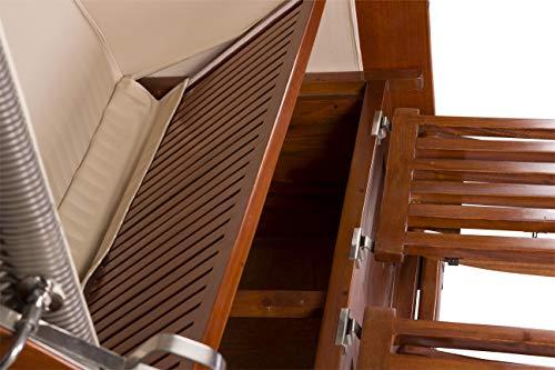 foolonli Strandkorb 2,5 Sitzer aufgebaut grün weiß gestreift mit Bullauge Mahagoni Holz XXL - 4