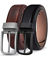 Men's Belt 2 Units,Bulliant Genuine Leather Belt For Men Dress Casual 1 3/8