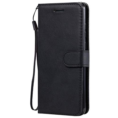 Hülle für Huawei Enjoy 10E Handyhülle Schutzhülle Leder PU Wallet Bumper Lederhülle Ledertasche Klapphülle Klappbar Magnetisch für Huawei Enjoy 10E - ZIKT050620 Schwarz