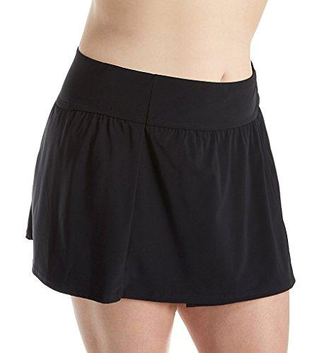 Christina Women's Plus-Size Solid Skirted Bikini Bottom, Black, 3X