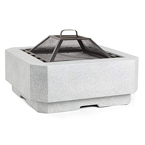 VonHaus Faux Concrete Chamfered Edge Fire Pit – MgO Fire Bowl with BBQ Grill for Garden and Patio – with Mesh Lid and Poker – Log Burner