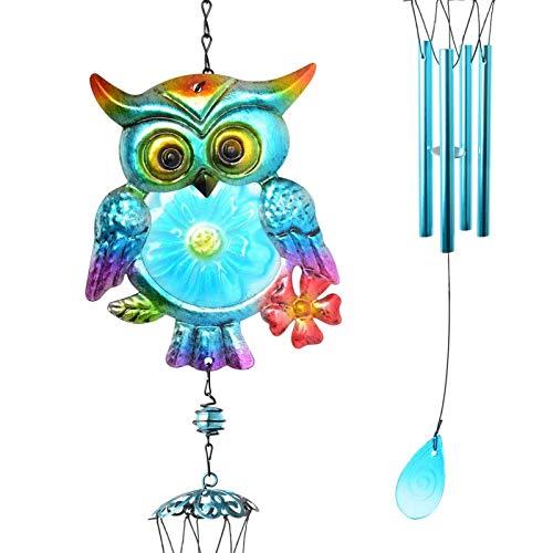 ALTcompluser Eulen-Windspiel, Windspiel, drinnen und draußen, Geschenke für Mutter, bemalte Hängeornamente für Garten, Terrasse, Hinterhof, Heimdekoration, Basteln