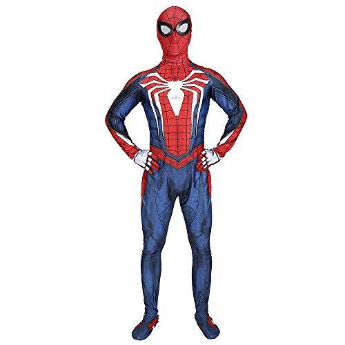 TOYSSKYR Costume cosplay per bambini PS4 Spider-Man Costume da ginnastica Tuta Elastica Costume da Halloween (Color : Blue, Size : XL)