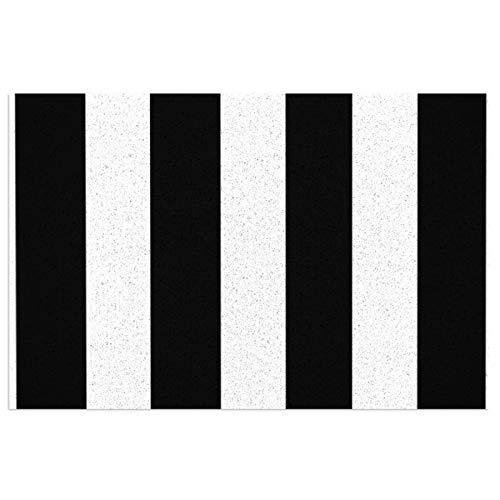 Fußmatte mit robuster, rutschfester PVC-Rückseite, modernes Design, schwarz-weiß gestreift, ideal für den Innen- und Außenbereich, 60 x 40 cm