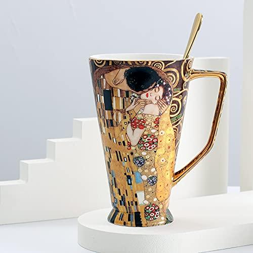 PPuujia Taza de café de lujo de regalo de hueso de China tazas de té con cuchara de cerámica de gran capacidad, accesorios de decoración del hogar (capacidad: 400 600 ml, color: beso)