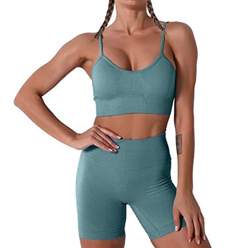 JNINTH Nahtloses Yoga-Set für Damen, 2-teiliges Workout-Sport-BH mit hoher Taille, Shorts, Leggings, Outfit - Blau - Klein
