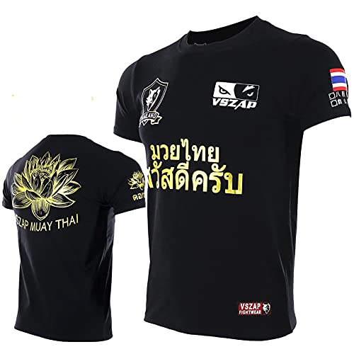 HUAN Lotus UFC Fitness Camiseta de Manga Corta MMA Muay Muay Thai Fighting Fighting Sanda Training Fighting Camiseta L