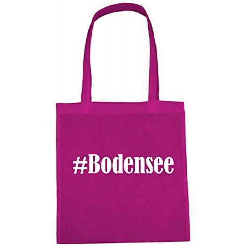 Tasche #Bodensee Größe 38x42 Farbe Pink Druck Weiss