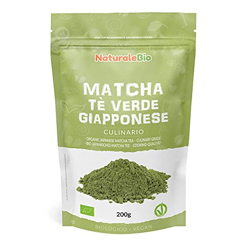 Matcha Tee Pulver Bio - Cooking-Qualität - 200 GR. Original Green Tea aus Japan. Japanischer Matcha Ideal zum Smoothies – Shakes - Latte. Tee hergestellt in Japan Uji, Kyoto. NaturaleBio