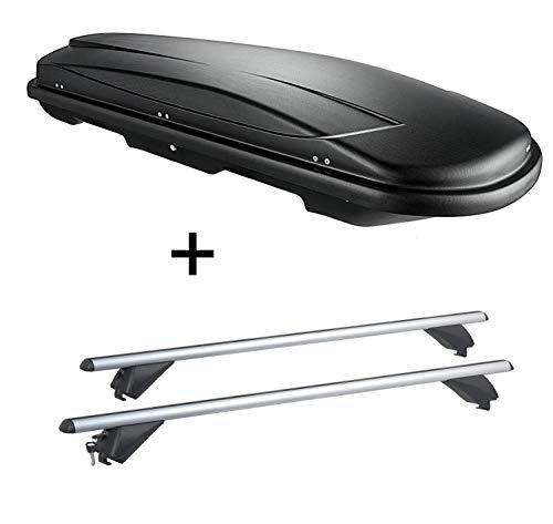 VDP Dachbox VDPJUXT400 400Ltr schwarz abschließbar + Alu Dachträger RB003 kompatibel mit Hyundai ix35 (5Türer) 2010-2015