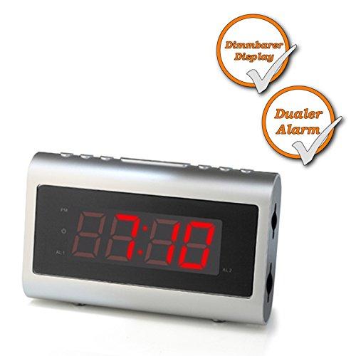 Radiowekker, FM- en MW klokradio, digitale wekker, snooze-timer, automatische tijd, met grote tijdsweergave