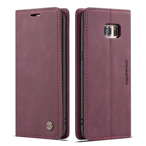 mvced Funda para Samsung Galaxy S7 Edge,Funda Móvil Funda Libro con Tapa Magnética Carcasa,Vino Rojo
