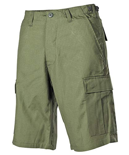 MFH US BDU Bermuda Ripstop Herrenhose Shorts Kurze Hose Cargo Sommerhose Verschiedene Ausführungen (L, Oliv)