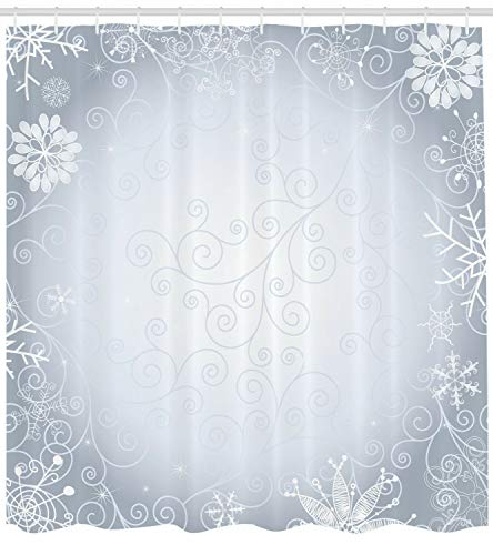 123456789 Ombre douchegordijn Kerst Frame Swirls Print voor Badkamer