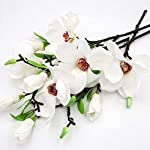 Artificial Six Mauve Magnolia Blossoms Silk Floral Flowers Bouquet Realistic Flower Arrangements Craft Art Decor Plant for Party Home Wedding Decoration