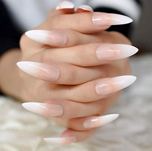 Fingernägel Extra Lange French Nail Extreme Stiletto Sharp Gradient 24 Künstliche Nägel Acrylnägel Maniküre-Tipps A