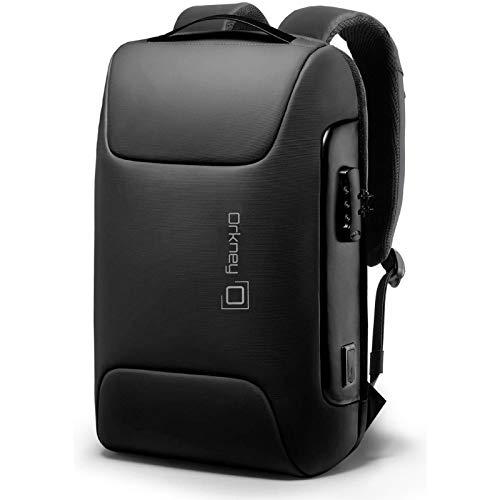 Orkney Laptop-Rucksack für Damen und Herren, wasserdicht, Diebstahlschutz, USB-Ladeanschluss. Rucksack für Reisen, Geschäft, Arbeit. Büro