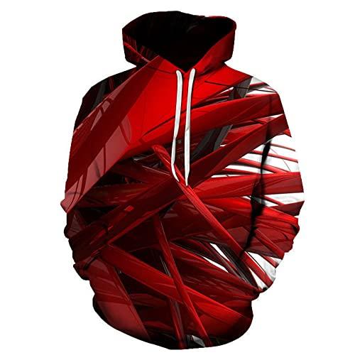 SONGWEOK Suéter Rojo de Primavera y otoño con Estampado Deportivo Sudadera con Capucha con Estampado Digital 3D Suéter Deportivo Traje de Pareja