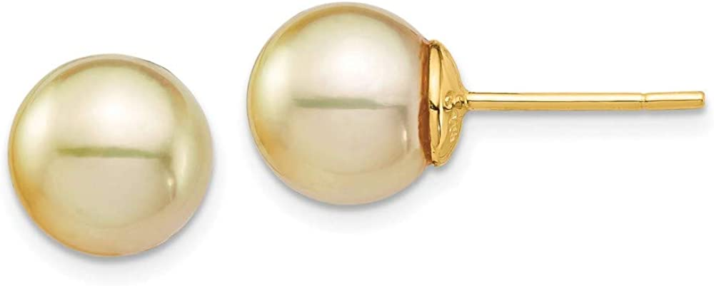 14K Yellow Gold 9-10mm En Round Saltwater Cultured South Sea Pearl Post Ball Earrings