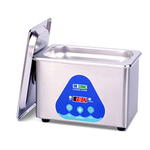 DK SONIC Mini Ultrasonic Cleaner 700mL 42KHz Sonic Cleaner with Digital Timer Basket for Jewelry,Ring,Eyeglasses,Denture,Watchband,Coins,Small Metal Parts etc.