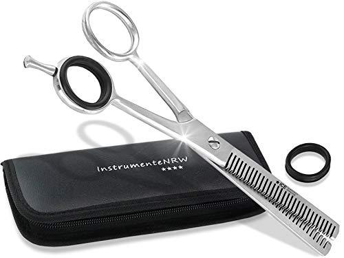 Premium Effilierschere - Modellierschere - Friseurschere - Haarschere - Ausdünnzahnung mit praktischem Aufbewahrungs-Etui (Nr. 4 = 5,5 Zoll Ausdünnzahnung 2-seitig)