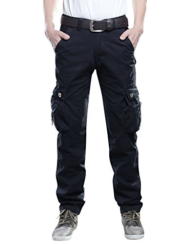 Cargohose Herren Arbeitshose Stretch Cargo Pants Loose Casual Mit Mehrere Tasche Schwarz 34