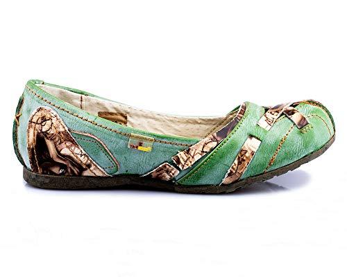 TMA 5088 Damen Ballerina Leder grün - EUR 38
