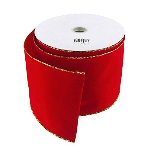Homeford Velvet Christmas Ribbon Wired Edge, 4-Inch, Red/Gold