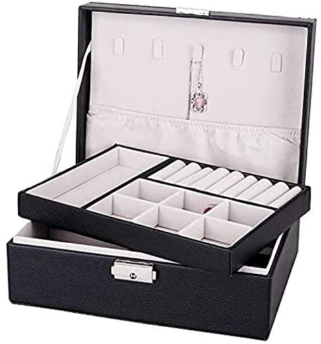 Joyero Para Mujer Organizador de Joyas, Caja de Almacenamiento de Joyas con Cerradura de 2 Niveles, Diseño de Cuero Anti-oxidación, Gran Capacidad Para Collares Pendientes Anillos,Black-Double